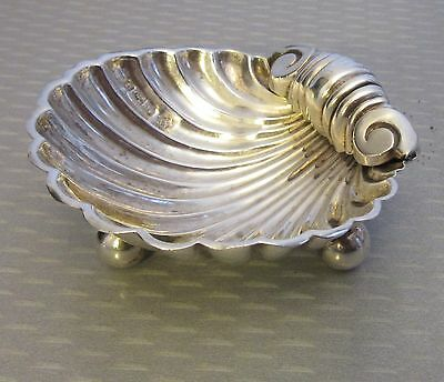 antique 1895 John & William Deakin British STERLING SILVER FOOTED SHELL DISH
