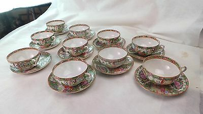 Antique Original 10 Coffee Tea Cups & Liners  Rose Medallion Chinese