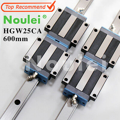Noulei 4pcs HGW25CA linear guides blocks +2pcs HGR25 rail 600mm CNC table parts