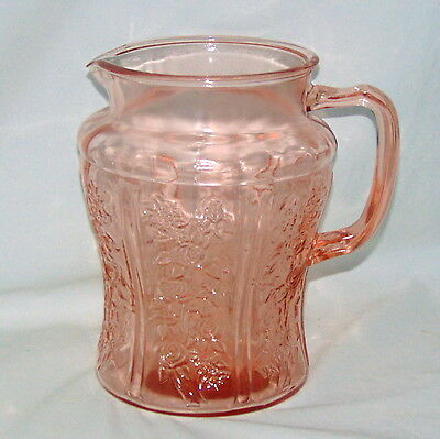 """Federal SHARON/CABBAGE ROSE PINK *8"""" 80 oz PITCHER* NO ICE LIP*"""