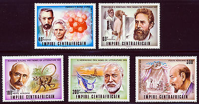 Central Africa 1977 Famous People Nobel Prize Winners  Set Scott 293-94, C180-82