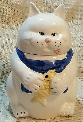 "Vintage Montgomery Ward & Co.,Inc. 10.5"" Tall Cat & Fish Design Cookie Jar"