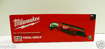 """Milwaukee 2467-20 M12 1/4"""" Hex Right Angle Impact Driver Bare Tool Brand New"""