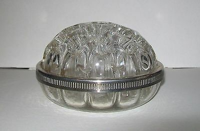 LARGE VINTAGE CLEAR GLASS VASE FLOWER FROG w/silver-tone band, made in France