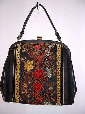 Vintage 50s LA France Black Leather Tapestry Embroidered Hand Bag Purse Minty