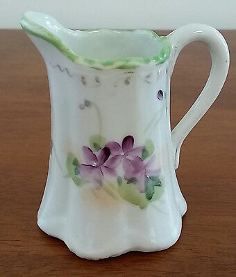 early 20th Century OFF WHITE GREEN Viola Pansy Decorated Small Milk Jug