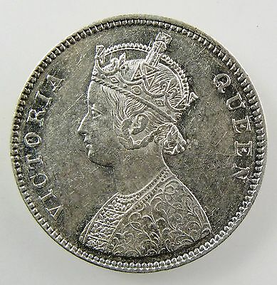 INDIA - BRITISH. 1862 (b) Silver Rupee; 4 berries, Nice Extremely Fine. KM# 473.