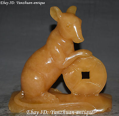 Rare China Yellow Green Jade Carving Wealth Money Mouse Mice Rat Animal Statue