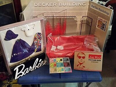 2016 Barbie Convention Backdrop, Sofa, Table, Screen, Outfit, & Postcard Book