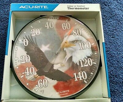 ACU-RITE  American Flag & Eagle  Thermometer  Indoor Or Outdoors