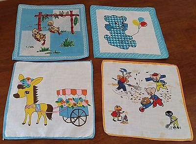 Vintage 1970s 4 Asstd 100% Cotton DONKEY PIGS TEDDY CHICKS Handkerchiefs #4