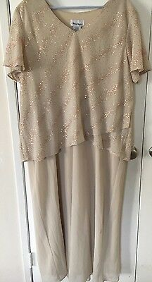 Women's Plus Size Layered Gold Sparkle Dress Mother Of The Bride Formal SZ 24