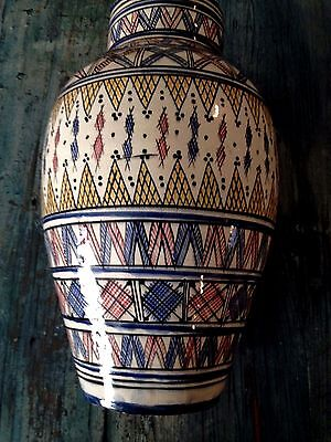 "Moroccan Middle Eastern Islamic Majolica Terracotta Vase 17"" Tall, Hand-Made"