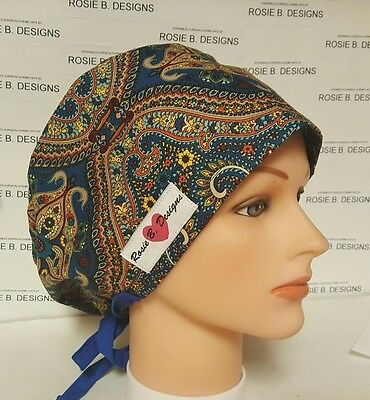 Pacific Teal / Pixie Hat    Scrub Surgical / Medical/ Chemo  / Caps