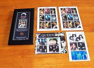 QUEEN / FREDDIE MERCURY - Lot of 4 Stamp Sheets & Framed Stamp/Coin Memorabilia