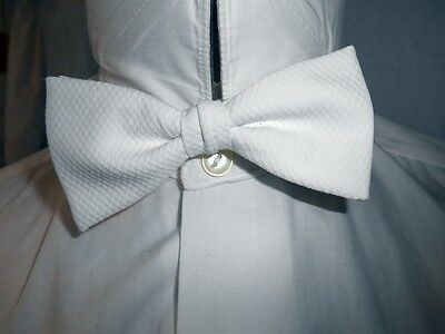 Vintage White Cotton Strap On Butterfly Bow Tie - Prom Night Tuxedo Formal Vegas