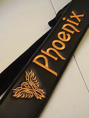 CUSTOM embroidered BLACK~~ULTRA SOFT LEATHER~~guitar strap with your LOGO & Name
