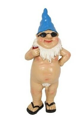 Chilling Nude Garden Gnome Blue Thongs With Beer- Funny Rude Naked Garden Gnome