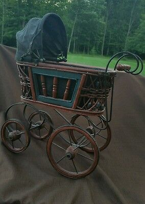 Antique Doll Baby Wicker Rattan Wood Metal Carriage Buggy Pram Style GORGEOUS