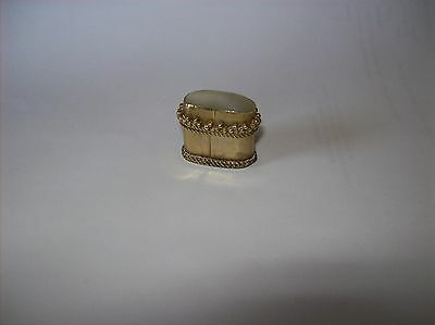Small Antique   Pillbox   Gold Metal With Mother Of Pearl Top  See Photos
