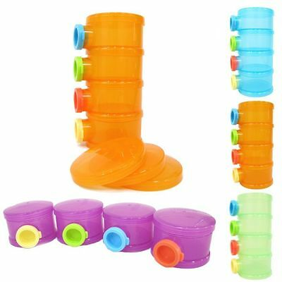 Baby Formula Dispenser Milk Powder Container Storage Pot Candy Box 4 Compartment