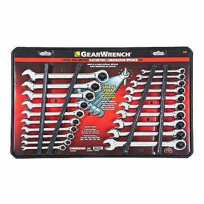 GearWrench 20 pc Ratcheting Combination Wrench Set SAE Standard METRIC MM 35720