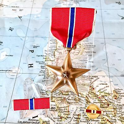 Wwii Us Bronze Star Medal Slot Brooch Ribbon Bar Lapel Pin Genuine Ww2 Issue