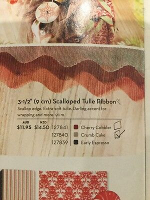 Brand New: Stampin' Up Scalloped Tulle Ribbon Crumb Cake (full pack)