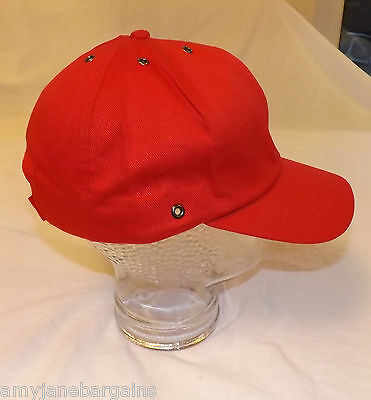 Job Lot x 25 Red Baseball Caps Hats 100% Cotton Adjustable Velcro By JSP NEW