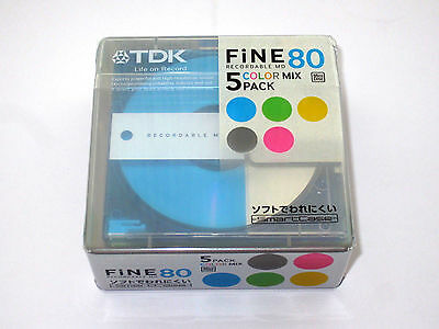 Five (5) minidisc TDK FiNE Color Mix MD-80 '2006 (new and sealed)