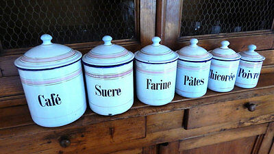 6 French Vintage Enamelware Canisters with Lids with Pink Decoration