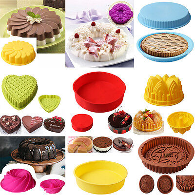 Large Round Silicone Cake Mold Pan Muffin Bread Pizza Pastry Bakeware Tray Mould