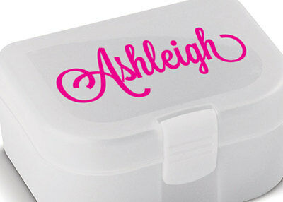 Personalised Lunch Box Bottle Name Sticker Label Custom Tupperware Decal