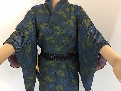 Authentic Japanese blue silk kimono for women, imported from Japan (M1013)