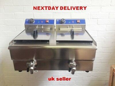 STAINLESS STEEL COMMERCIAL  16x16 L ELECTRIC FRYER WITH TAPS