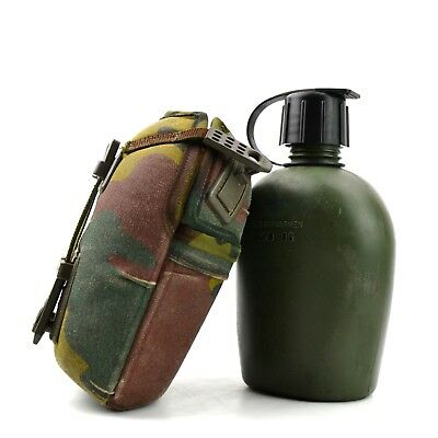 Genuine Belgium Dutch Army Canteen with camo cover. Water bottle lid cap