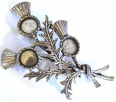 Vintage Silvertone SCOTTISH Thistle Brooch - Just Require Stones - New Old Stock