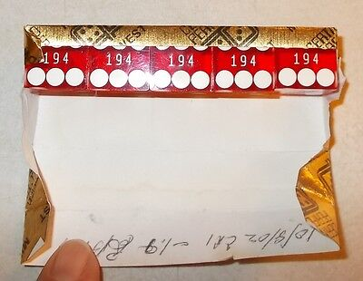 Midwest Certified Perfects Retired Stick (5ea) of Casino Dice matching serial #s