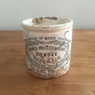 Vintage James Keiller Dundee Marmalade Jar Beautiful Crazing