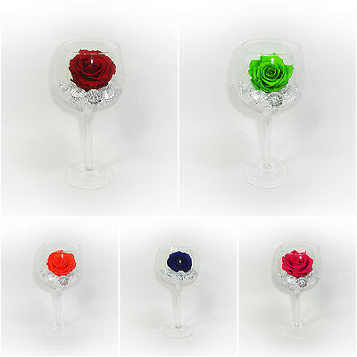 Glass Diamonds preserved  single Rose 100% natural real last 3 years no water