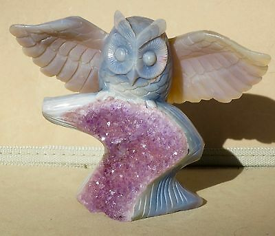 Owl carved from Brazilian Geode 6""
