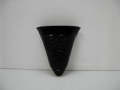 "Vintage Black Amethyst Glass Wall Pocket Vase Textured Crackle 6"" Water Residue"