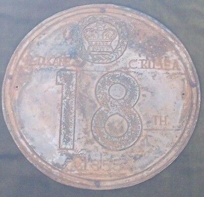 TRENCH ART CRIMEAN WAR 1855 METAL PLAQUE by PRIVATE D.KANE 18th ROYAL IRISH