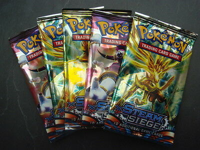 50 new pokemon cards XY steam siege FAKE - 5 packs 10 cards per pack