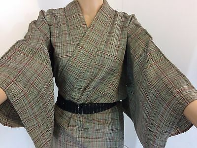 Authentic Japanese grey wool kimono for women, imported from Japan (M1015)