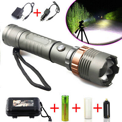 Tactical Police XM-L T6 12000LM LED Zoomable Flashlight Torch Rechargeable Lamp