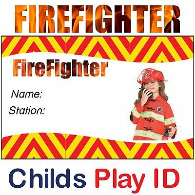 Child's Firefighters ID Card | Fireman Sam ID Card for Kids Fancy Dress Costume.
