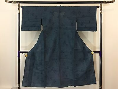 Authentic Japanese blue linen see through kimono, imported from Japan (M1016)