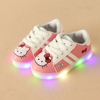 Scarpe bambina luci Hello Kitty led 2017 kids shoes lights kinder schuhe