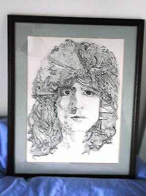 Original pen & Ink drawing of MARC BOLAN framed and mounted.